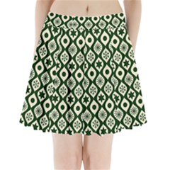 Green Ornate Christmas Pattern Pleated Mini Skirt