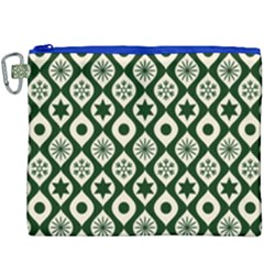 Green Ornate Christmas Pattern Canvas Cosmetic Bag (xxxl) by patternstudio