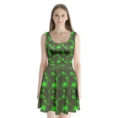 Neon Green Bubble Hearts Split Back Mini Dress