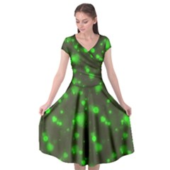 Neon Green Bubble Hearts Cap Sleeve Wrap Front Dress