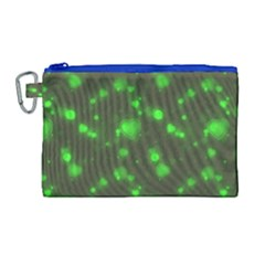 Neon Green Bubble Hearts Canvas Cosmetic Bag (large) by PodArtist