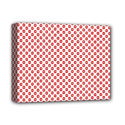 Sexy Red And White Polka Dot Deluxe Canvas 14  X 11  by PodArtist