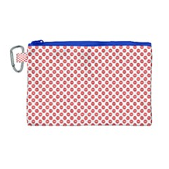 Sexy Red And White Polka Dot Canvas Cosmetic Bag (large) by PodArtist