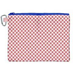 Sexy Red And White Polka Dot Canvas Cosmetic Bag (xxl) by PodArtist