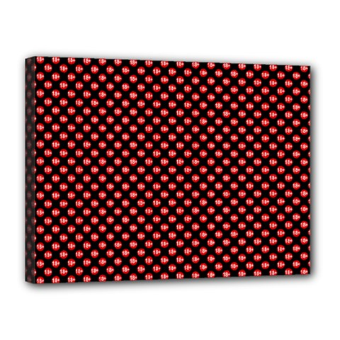 Sexy Red And Black Polka Dot Canvas 16  X 12  by PodArtist