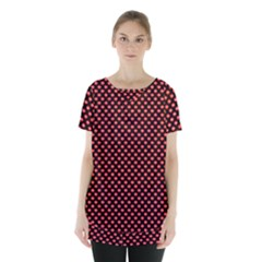 Sexy Red And Black Polka Dot Skirt Hem Sports Top by PodArtist