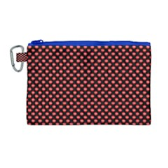 Sexy Red And Black Polka Dot Canvas Cosmetic Bag (large) by PodArtist