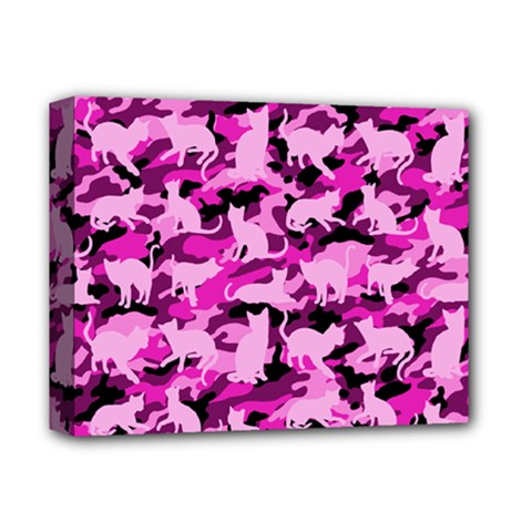 Hot Pink Catmouflage Camouflage Deluxe Canvas 14  X 11  by PodArtist