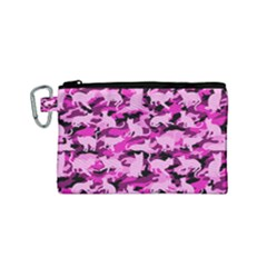 Hot Pink Catmouflage Camouflage Canvas Cosmetic Bag (small) by PodArtist