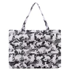 Black And White Catmouflage Camouflage Zipper Medium Tote Bag