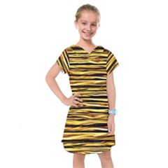 Texture Wood Wood Texture Wooden Kids  Drop Waist Dress by Celenk