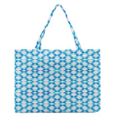 Fabric Geometric Aqua Crescents Zipper Medium Tote Bag by Celenk