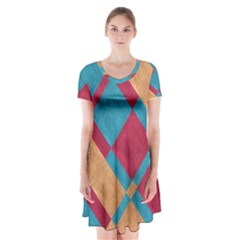 Fabric Textile Cloth Material Short Sleeve V Neck Flare Dress by Celenk