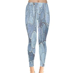 Bubbles Texture Blue Shades Leggings  by Celenk