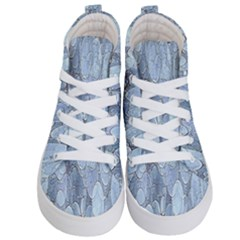 Bubbles Texture Blue Shades Kid s Hi Top Skate Sneakers