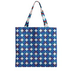 Geometric Dots Pattern Rainbow Zipper Grocery Tote Bag by Celenk