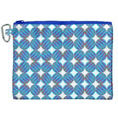 Geometric Dots Pattern Rainbow Canvas Cosmetic Bag (xxl) by Celenk