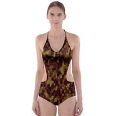 Camouflage Tarn Forest Texture Cut Out One Piece Swimsuit