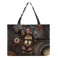 Steampunk, Steampunk Women With Clocks And Gears Zipper Medium Tote Bag by FantasyWorld7