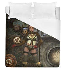 Steampunk, Steampunk Women With Clocks And Gears Duvet Cover (queen Size) by FantasyWorld7