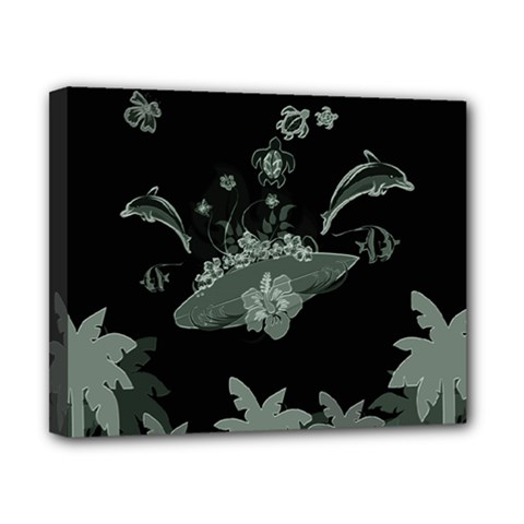 Surfboard With Dolphin, Flowers, Palm And Turtle Canvas 10  X 8  by FantasyWorld7