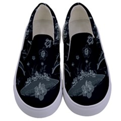 Surfboard With Dolphin, Flowers, Palm And Turtle Kids  Canvas Slip Ons