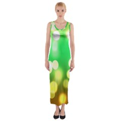 Soft Lights Bokeh 3 Fitted Maxi Dress