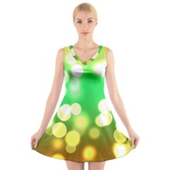 Soft Lights Bokeh 3 V-Neck Sleeveless Skater Dress