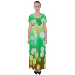 Soft Lights Bokeh 3 High Waist Short Sleeve Maxi Dress