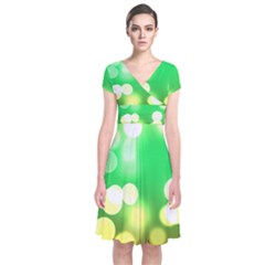Soft Lights Bokeh 3 Short Sleeve Front Wrap Dress