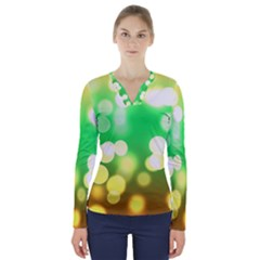 Soft Lights Bokeh 3 V-Neck Long Sleeve Top