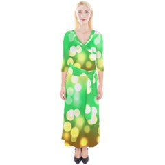 Soft Lights Bokeh 3 Quarter Sleeve Wrap Maxi Dress