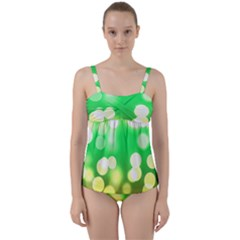 Soft Lights Bokeh 3 Twist Front Tankini Set