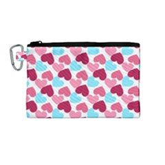 Bold Valentine Heart Canvas Cosmetic Bag (medium)