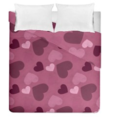 Mauve Valentine Heart Pattern Duvet Cover Double Side (queen Size) by allthingseveryday