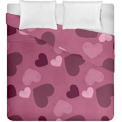 Mauve Valentine Heart Pattern Duvet Cover Double Side (king Size) by allthingseveryday