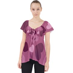 Mauve Valentine Heart Pattern Lace Front Dolly Top