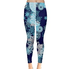 Blue & Aqua Snowflakes Patterns Leggings  by PattyVilleDesigns