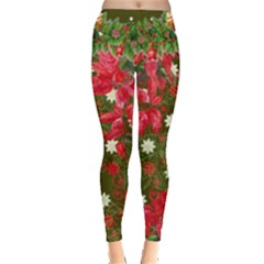 Olive & Red Poinsettia Florals Leggings  by PattyVilleDesigns