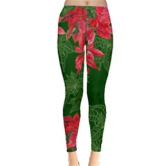 Deep Green Christmass Poinsettia Leggings  by PattyVilleDesigns