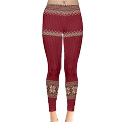 Dark Red Ugly Christmas Leggings  by PattyVilleDesigns