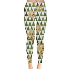 Green Seamless Christmas Trees Leggings  by PattyVilleDesigns