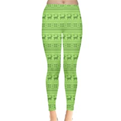 Chartreuse Seamless Reindeers Pattern Leggings  by PattyVilleDesigns
