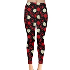 Black & Red Swirls Of Christmas Flowers Leggings  by PattyVilleDesigns