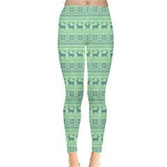 Pale Green Seamless Reindeers Leggings  by PattyVilleDesigns
