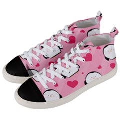Penguin Love Pattern Men s Mid Top Canvas Sneakers by allthingseveryday