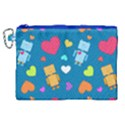 Robot Love Pattern Canvas Cosmetic Bag (XL) View1