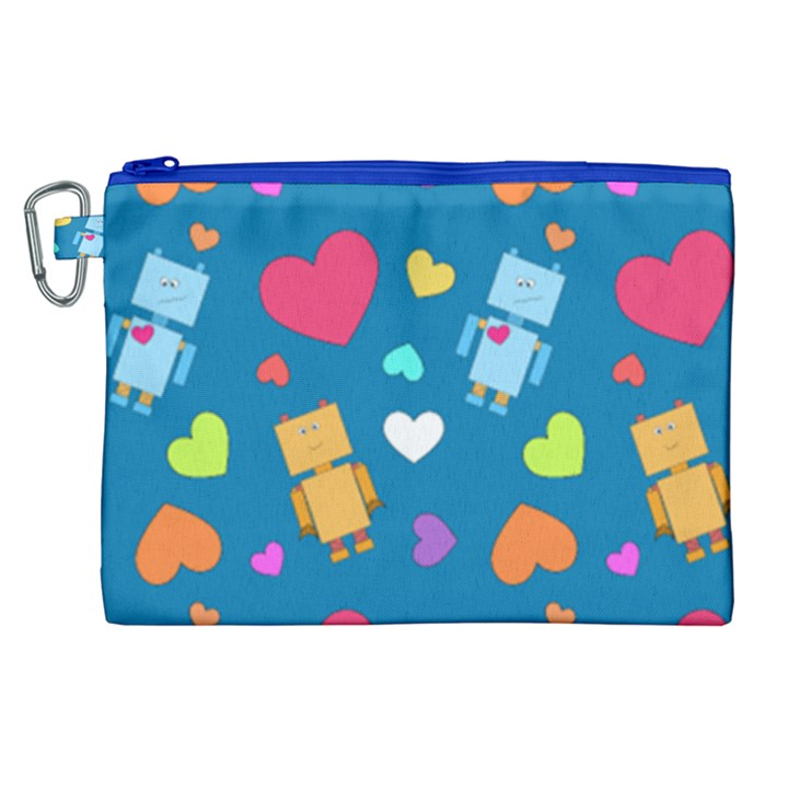 Robot Love Pattern Canvas Cosmetic Bag (XL)