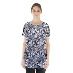 Black And White Ornate Pattern Skirt Hem Sports Top by dflcprints