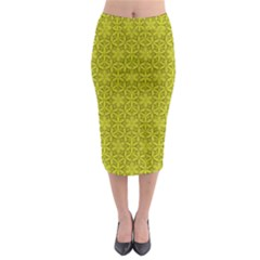Flower Of Life Pattern Lemon Color  Midi Pencil Skirt by Cveti